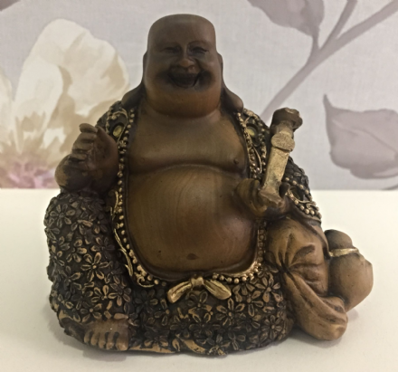 Small Wood Effect Laughing Buddha Holding Instrument